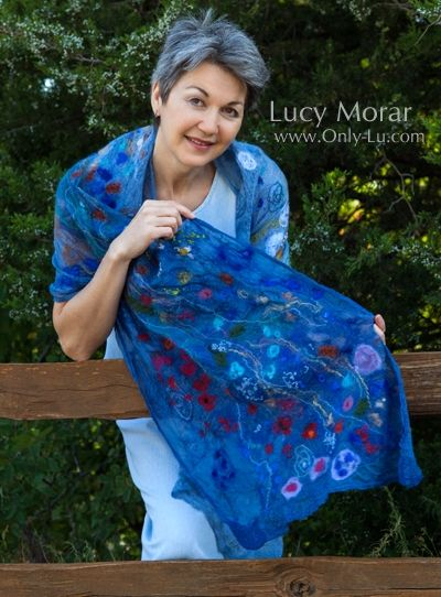 """Wildflowers"" Nuno Felt Art Scarf by Lucy Morar"