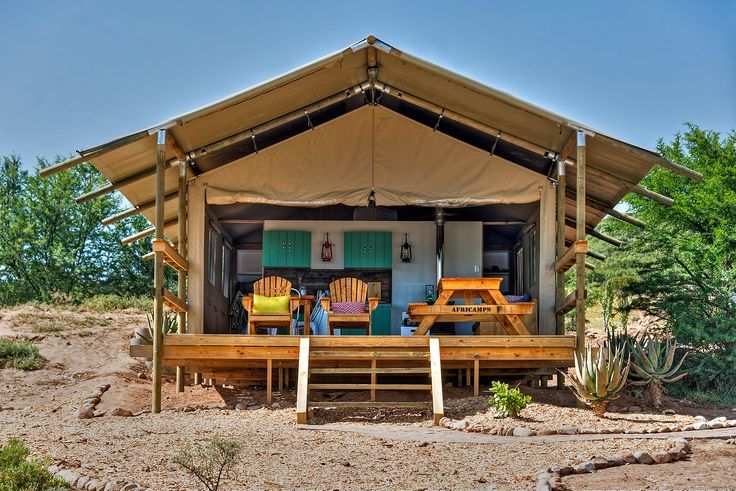 AfriCamps Glamping at Klein Karoo. Sitting on the front deck over looking the dam.