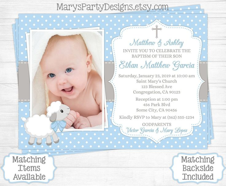 349 best baptism invitations images on pinterest christening lamb baptism invitation boy first birthday christening baptismal baby blue gray sheep photo picture invite evite printable digital stopboris Image collections