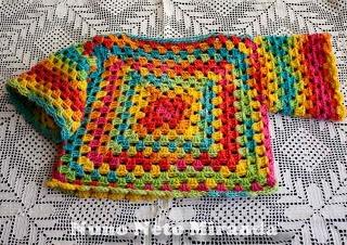 tutorial…  alt=crochet baby sweater, granny sweater, Ice Yarns Baby Wool Print, camisola em crochet para bebé, quadradinhos da avó