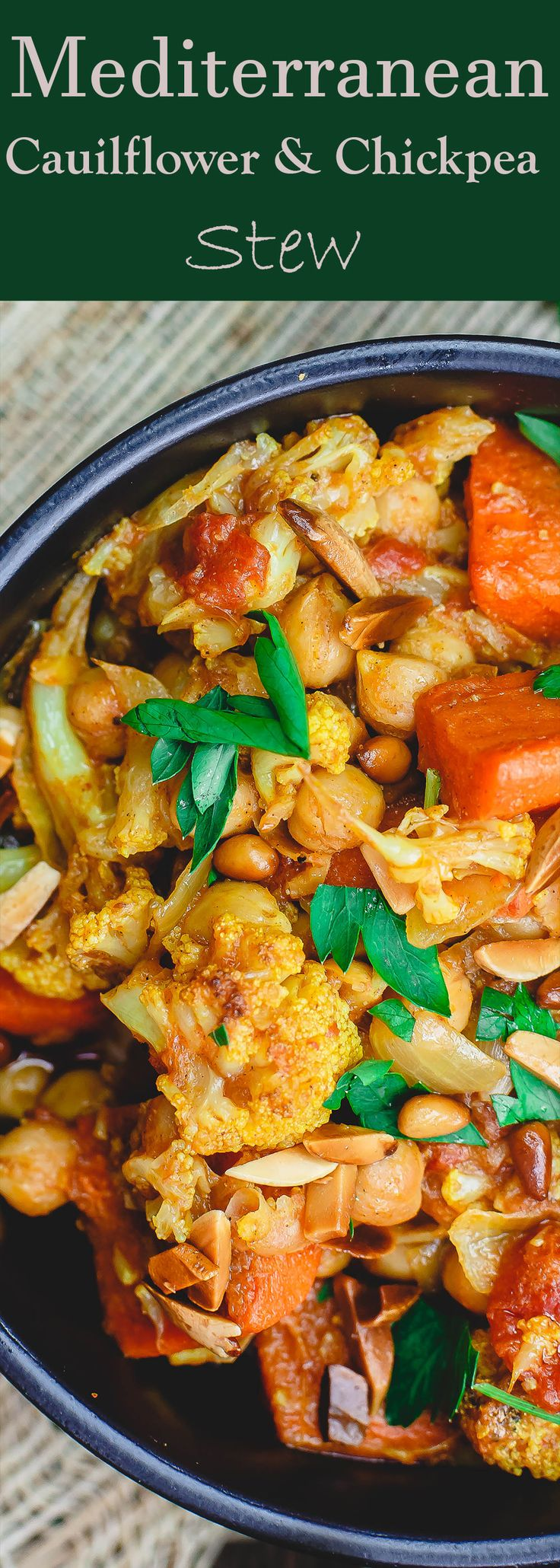 Turmeric Roasted Cauliflower and Chickpea Stew Recipe (tutorial)| The Mediterranean Dish. A delicious vegan, gluten free chickpea stew that is hearty, healthy and flavor-packed. Roasted cauliflower and carrots are added with chickpeas and spices in a chunky tomato sauce. Easy Mediterranean recipe with step-by-step tutorial from TheMediterraneanDish.com #mediterraneandiet #mediterraneanrecipe #chickpearecipe #cauliflowerrecipe #turmericrecipe