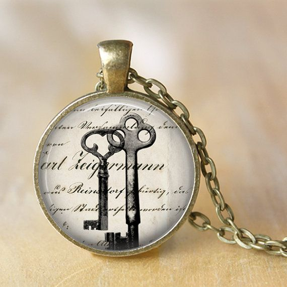 Antique Keys Art Pendant Necklace Vintage by LiteraryArtPrints  #jewelry #literature