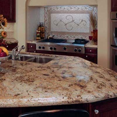 Golden Wave Granite Countertop With Dove Creek Medallion