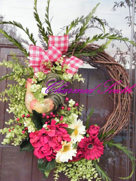 Grapevine Rooster Floral Wreath by CharmedSouth on Etsy, $87.00