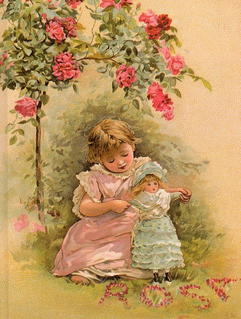 """""""Under the roses"""", by Lizzie Mack (1880-1902)."""