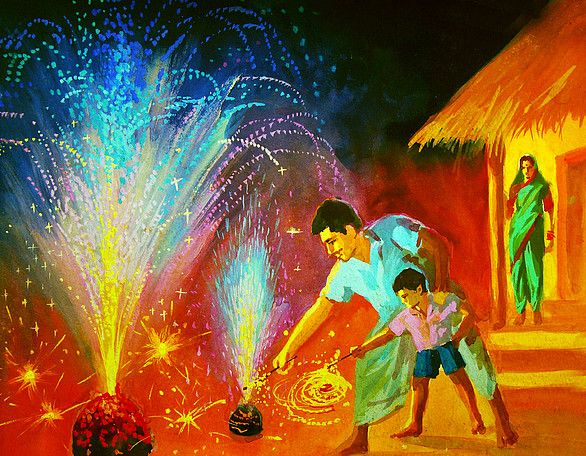 how to draw festival of diwali for kids