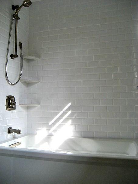 Beveled White Subway Tile in Shower