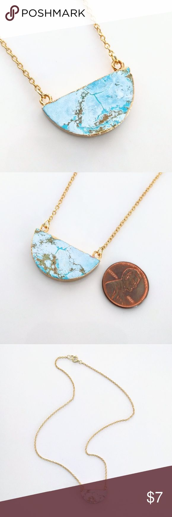 """Gold-plated turquoise howlite half moon necklace CLOSET CLOSING CLEARANCE!  All prices are firm; no additional offers accepted.  I'm earning no profits, just liquidating everything before moving abroad.  I'm listing as many items as I can as quickly as I'm able, but things are selling fast, so grab your faves while you can!    Nickel free.  About 20"""" long. Jewelry Necklaces"""