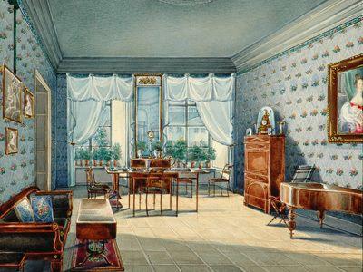 Wohnzimmer im oldenburger schloss theodor presuhn zimmerbilder pinterest portal - Biedermeier wohnzimmer ...