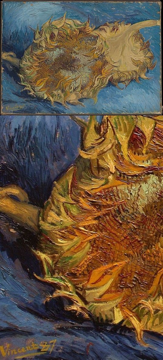 "Sunflowers ~ artist Vincent Van Gogh, c.1887; oil on canvas, 17"" x 24"". Metropolitan Museum of Art, New York. Van Gogh's first series of sunflowers, four different works depicting them cut & lying prone; likely done in Paris while living with his brother Theo from 1886-88.  #art #painting #post_impressionism"