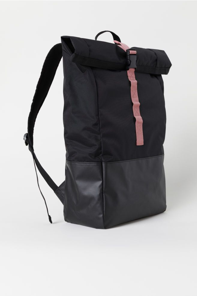 Black Cordura Backpack Vegan Backpack School Water Resistant Backpack City Travel Backpack Work Books Backpack Flap top Black Rucksack egst