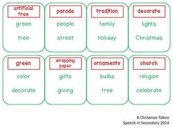 Christmas Taboo for Articulation and Language
