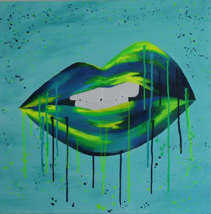 Buy Sneer, a Acrylic on Canvas by Sarah Sandmann from South Africa. It portrays: Body, relevant to: blue, splatter, sneer, blue and yellow, drip art, modern, mouth Acrylic blues and lumo greeny yellows on canvas stretched onto a box mounting.