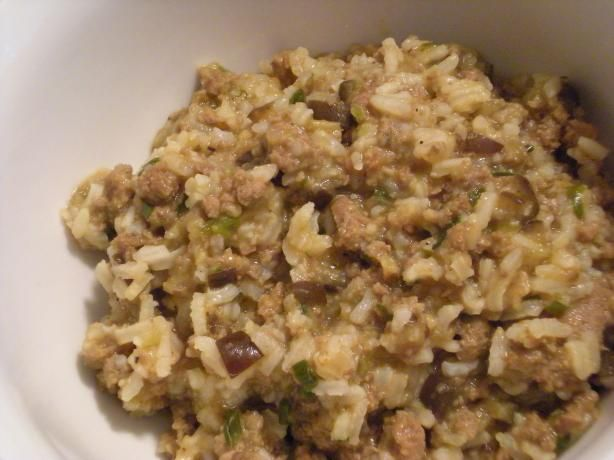 Eggplant Rice Dressing- Cajun from Food.com: This is a healthy and tasty alternative to dirty rice. Also a great way to get the kids to try and love eggplant! I usually make this with one pound of ground turkey to reduce the fat and calories. To add even more flavor you can increase the onion and garlic if you like but we find it well seasoned as is. Sometimes we will even add some celery in with the onion mixture. Use what you have and what you like. Any color bell peppers are fine too! Red…