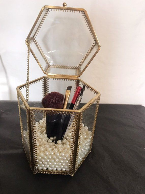 Brass Glass Makeup Brush Holder with lid- Make-up Brush Holder | Make Up Brush J…
