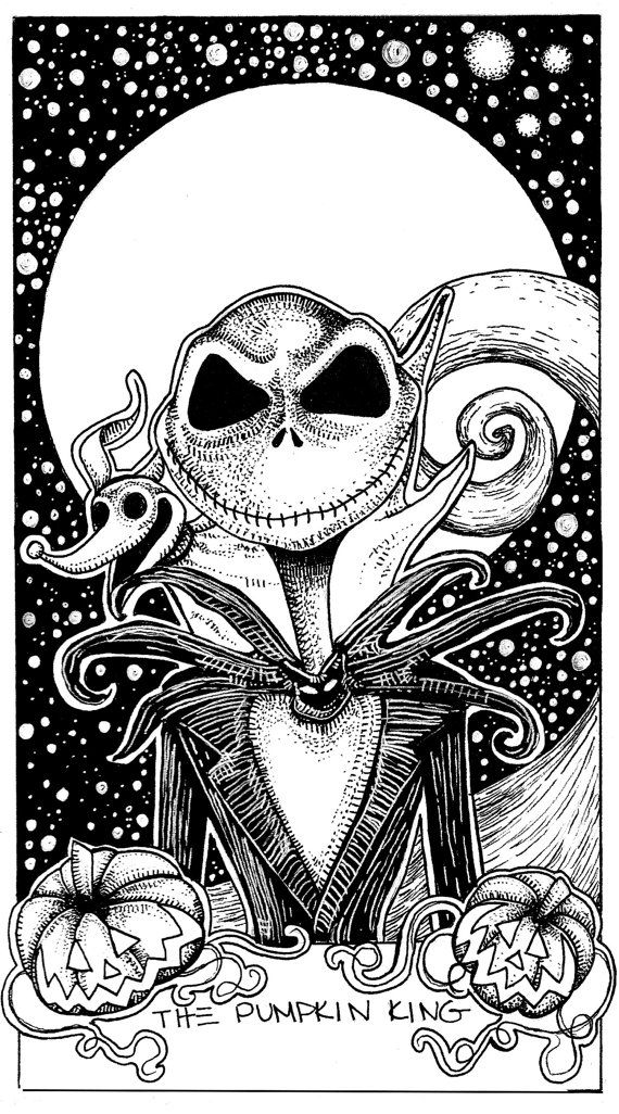 Jack Skellington Nightmare Before Christmas The Pumpkin King Tarot Card Illustration on Etsy, $50.00
