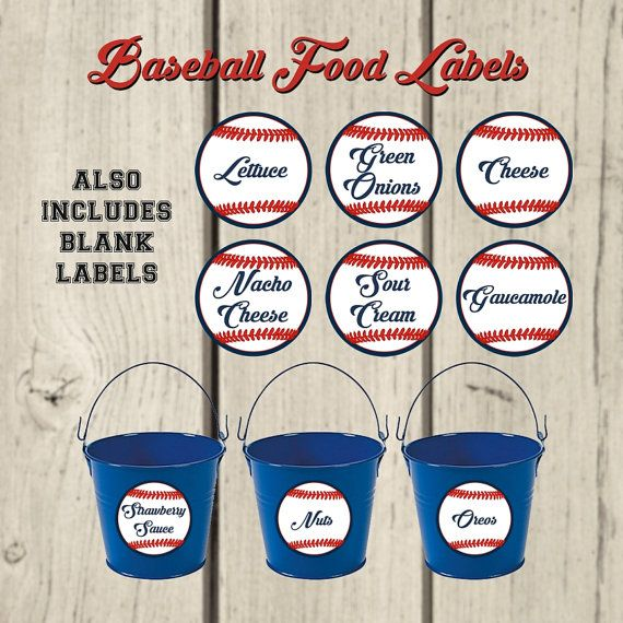 Baseball Party Food Labels. Party Buffet by creativelyexpressive