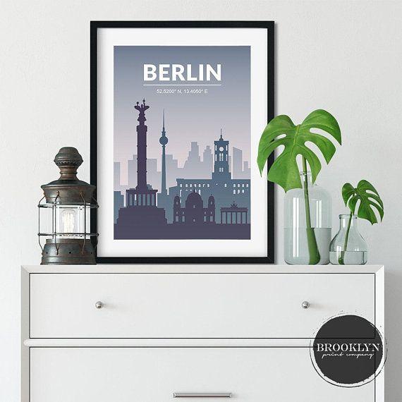 BERLIN CITY MAP POSTER PRINT MODERN CONTEMPORARY CITIES TRAVEL IKEA FRAMES