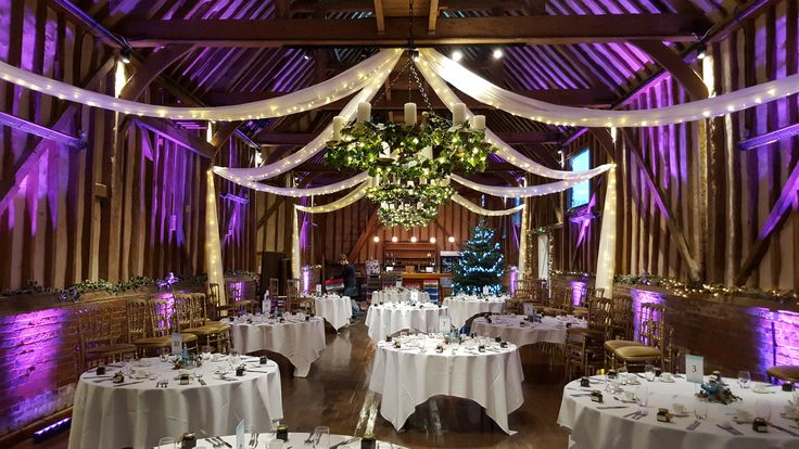 These beautiful swags look amazing in the Great Barn @Lillibrookemanor #Fairylights #Swags #uplighters