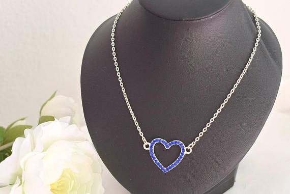 Blue Heart Necklace  Rhinestone Necklace  Crystal Jewelry