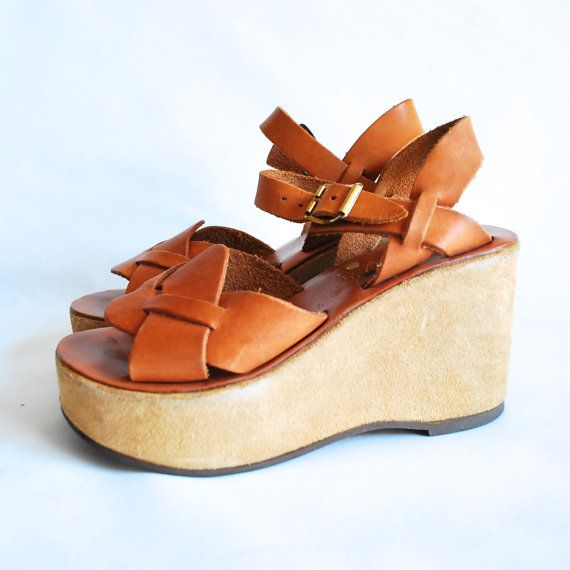 vintage 50s 60s 1960s High Heels Platforms Platform Heel Leather Made in Italy Strappy Summer Sandals Tall Wedge Wedges Suede 6 M Huaraches