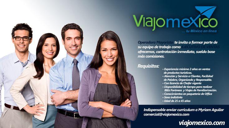 Únete al MEJOR EQUIPO DE TRABAJO... VIAJOMEXICO Solicita  Ejecutivos de Ventas! #guadalajara #viajomexico #empleos #hoteleria #agenciasdeviajes