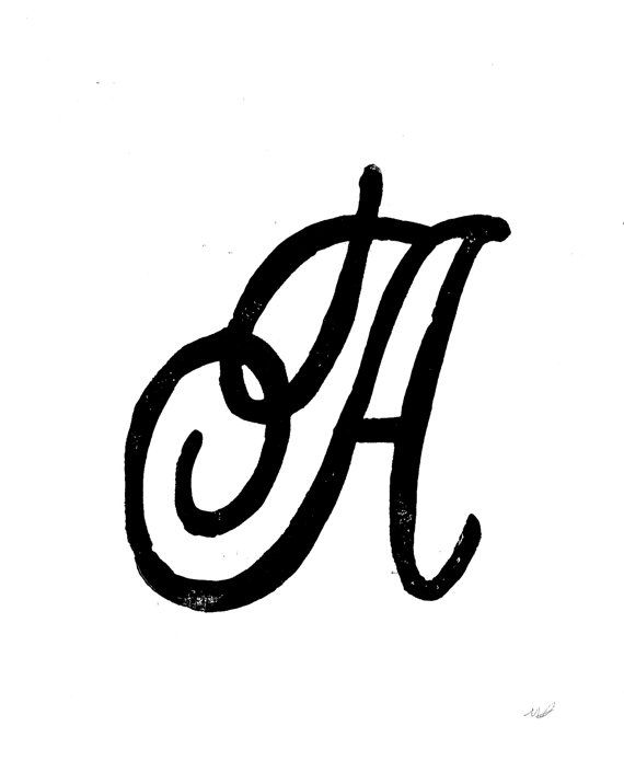 Linocut Print Letter A Monogram Decorative By Wordsigiveby