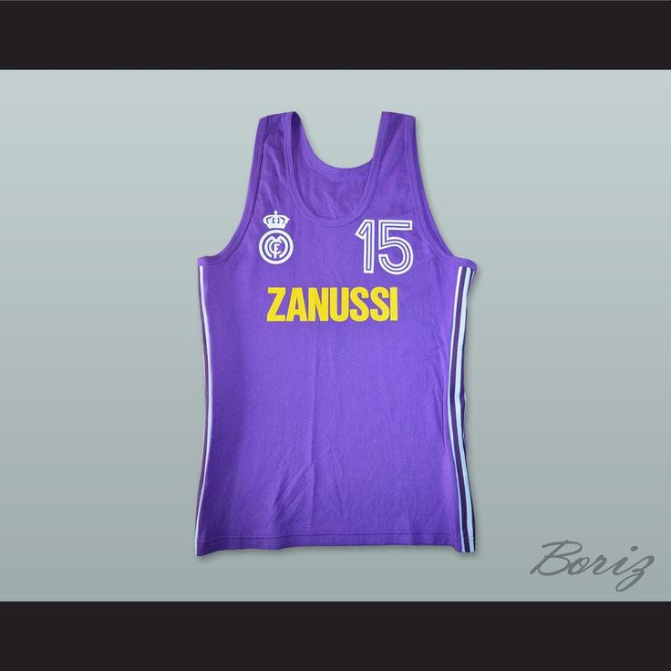 """Mirza Delibasic 15 Real Madrid Basketball Jersey. STITCH SEWN GRAPHICS  CUSTOM BACK NAME CUSTOM BACK NUMBER ALL SIZES AVAILABLE SHIPPING TIME 3-5 WEEKS WITH ONLINE TRACKING NUMBER Be sure to compare your measurements with a jersey that already fits you. Please consider ordering a larger size, if you prefer a loose fit. HOW TO CALCULATE CHEST SIZE: Width of your Chest plus Width of your Back plus 4 to 6 inches to account for space for a loose fit. Example: 18"""" wide chest plus 18"""" wide back…"""