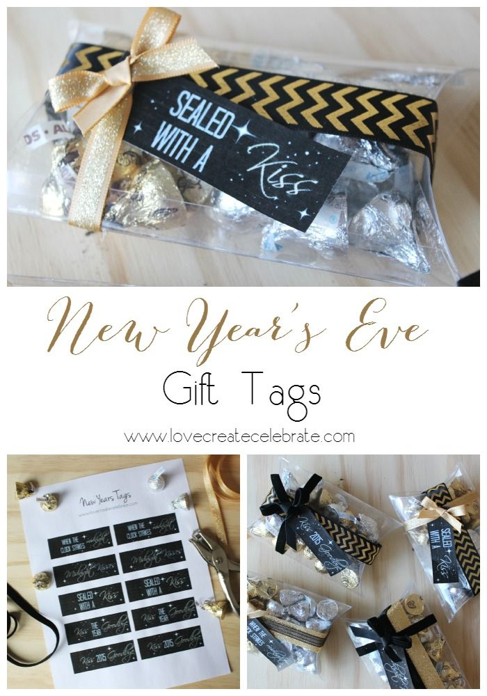new year 39 s eve gift tags gift tags chocolate kisses and new year 39 s. Black Bedroom Furniture Sets. Home Design Ideas