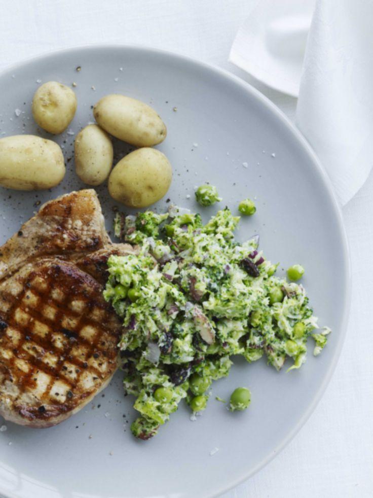 Broccoli-couscous med svinekotelet