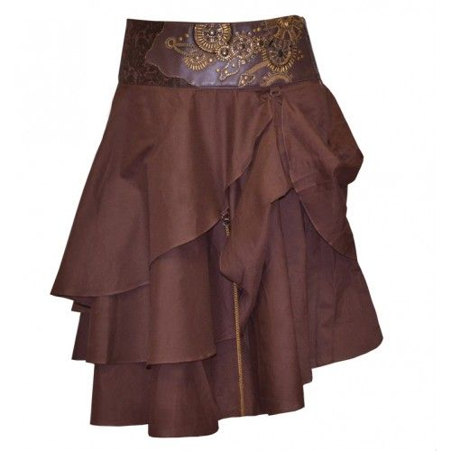 EW-105 - Brown Steampunk Skirt with Intricate Gold Detail - Corset tutus and skirts - Fashion Corsets