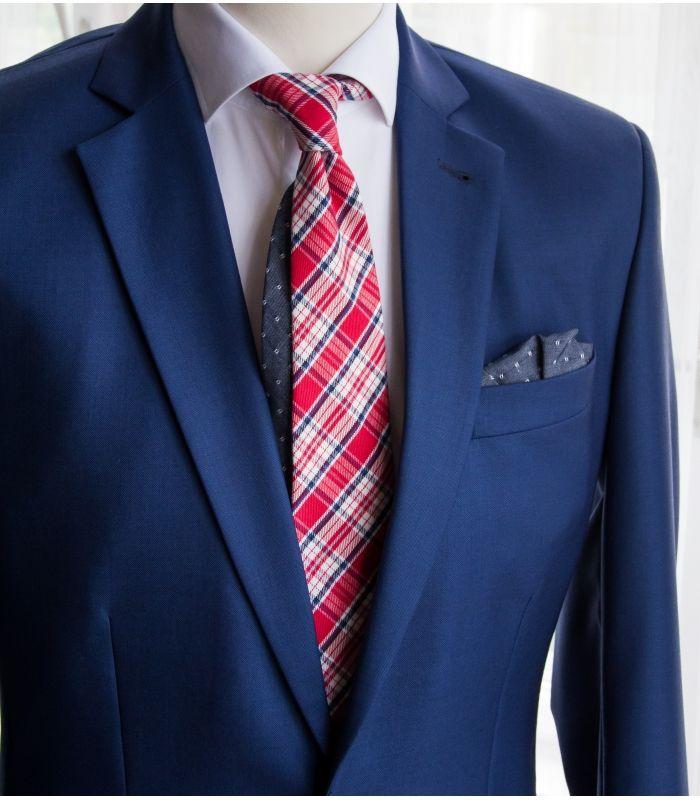 Red plaid twin necktie