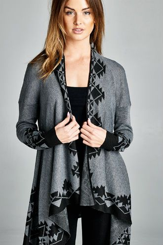 Gray Tribal Print Cardigan http://wildlarkboutique.com/product/gray-tribal-print-cardigan/