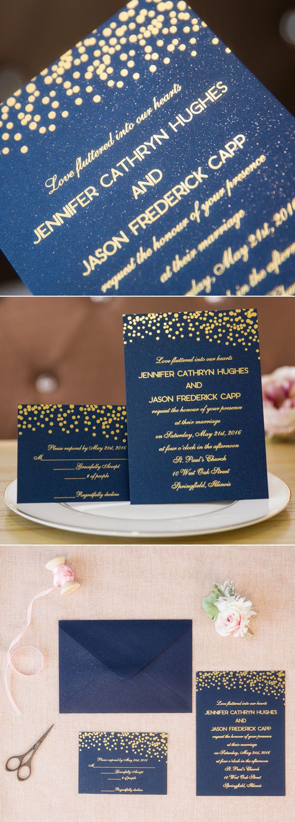 navy blue and gold foil stamped wedding invitations #weddinginvitations