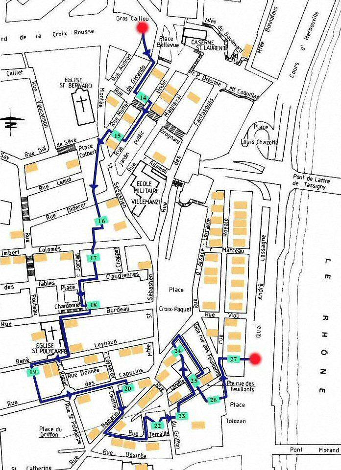 Traboule Lyon  Plan du parcours Croix Rousse Est