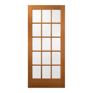 JELD WEN 36 In. X 80 In. 15 Lite Unfinished Fir Wood Front
