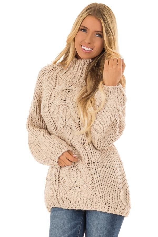 Oatmeal Thick Cable Knit Sweater with Long Sleeves