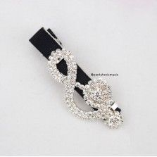 Bling Treble Hair Clip - Black