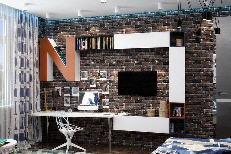 idées pour la chambre d'ado garçon - mur de brique, éclairage indirect bleu, meuble bureau blanc et chaise bureau de design cool en blanc