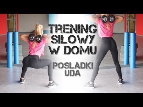 Trening siłowy w domu - ćwiczenia na uda i pośladki z hantlami - YouTube