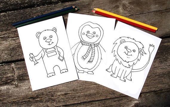 Cute Animals Coloring Kit  Greeting Cards  Color Me  Adults