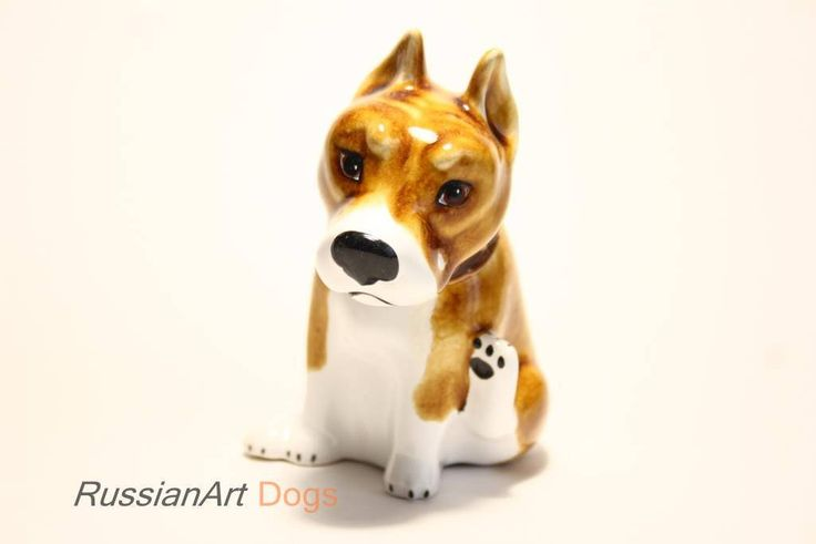 American Staffordshire Terrier - Funny Pawls series, dogs ceramic figurine handmade statuette by RussianArtDogs on Etsy