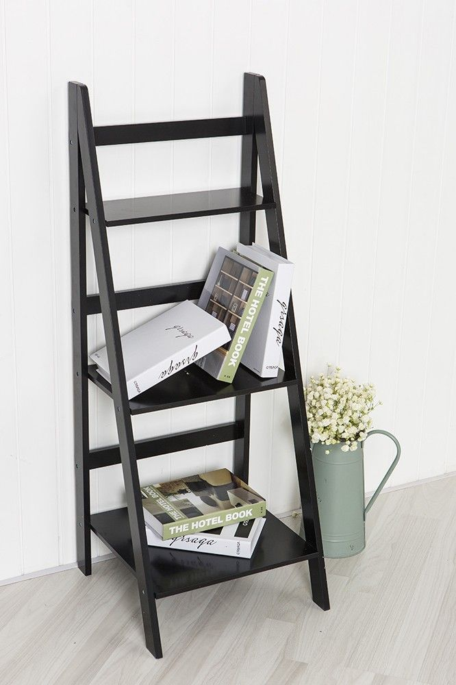 Black Ladder Shelf with Three Tiers Quirky style shelving storage solution  Country style house