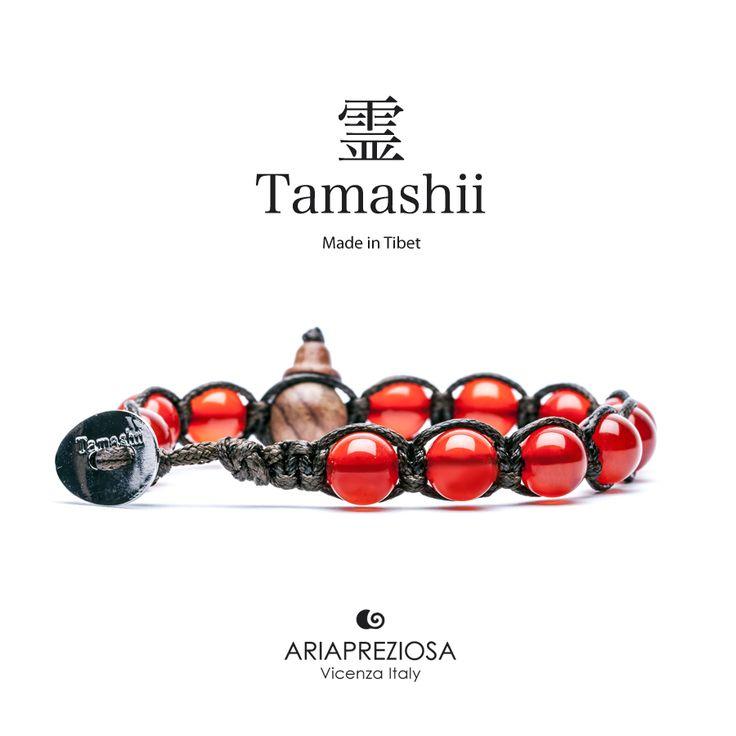 Bracciale originale tibetano Tamashii realizzato con pietre naturali AGATA ROSSO PASSIONE.