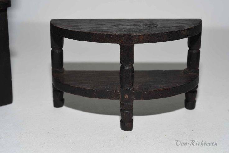 Vintage Dolls House Dark Oak Furniture And Lamp Stand 1:16 | eBay