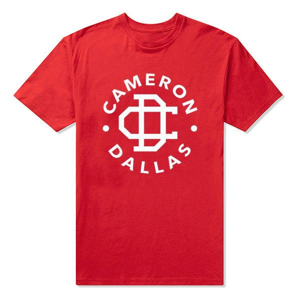 Cameron Dallas T-Shirt Color: Red w/White Lettering (Other colors available by request) Sizes Available: S / M / L / XL / 2X Unisex Preshrunk Cotton Tee Other styles and colors available by request. S