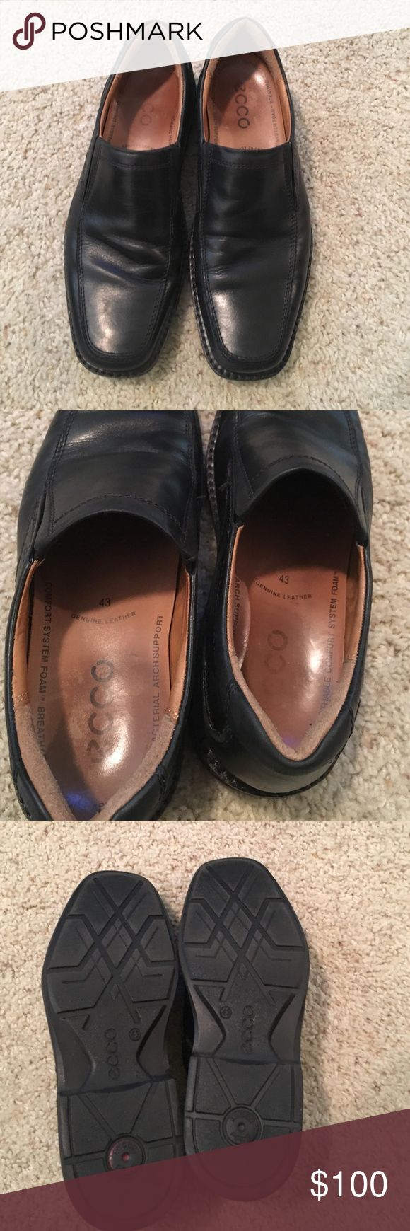 Ecco Men's slip on black dress shoes size 9/43 Lightly used Men's black Ecco slip on square toed dress shoes, size 9m/43 Ecco Shoes Loafers & Slip-Ons