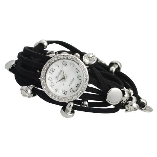 GP by Brinley Co. Women's Rhinestone Black Multi-strand Silvertone Accents Wrap-around Watch GP Designs. $19.99. Save 62% Off!