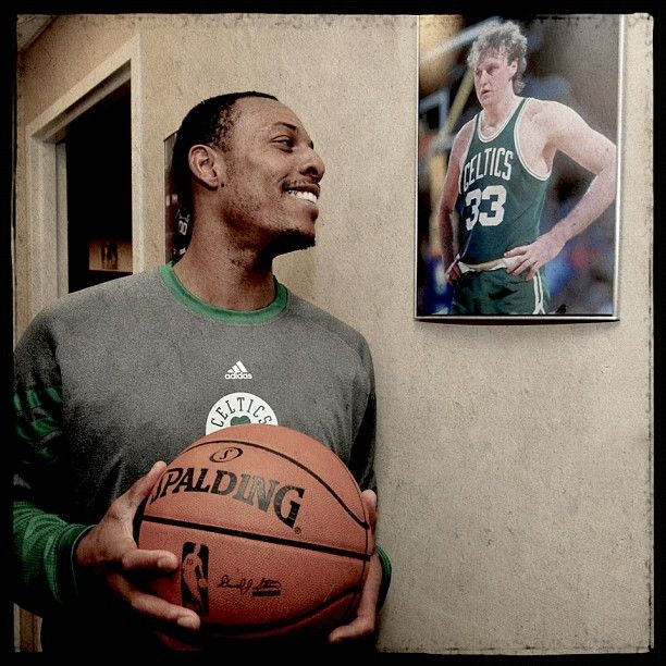 Paul Pierce with the game ball after passing Larry Bird to become No. 2 on the all-time Boston @Celtics scoring list
