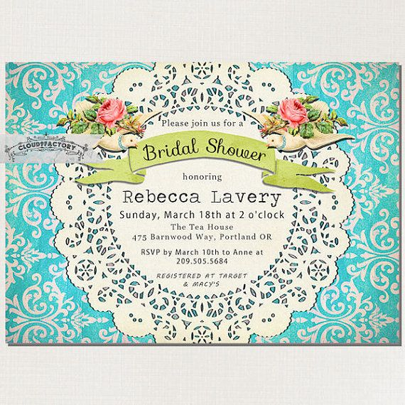 Love Birds Doves Turquoise Bridal Shower by Cloud9Factory on Etsy